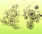 Retro Flower Drawings