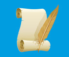 Paper Scroll And Feather