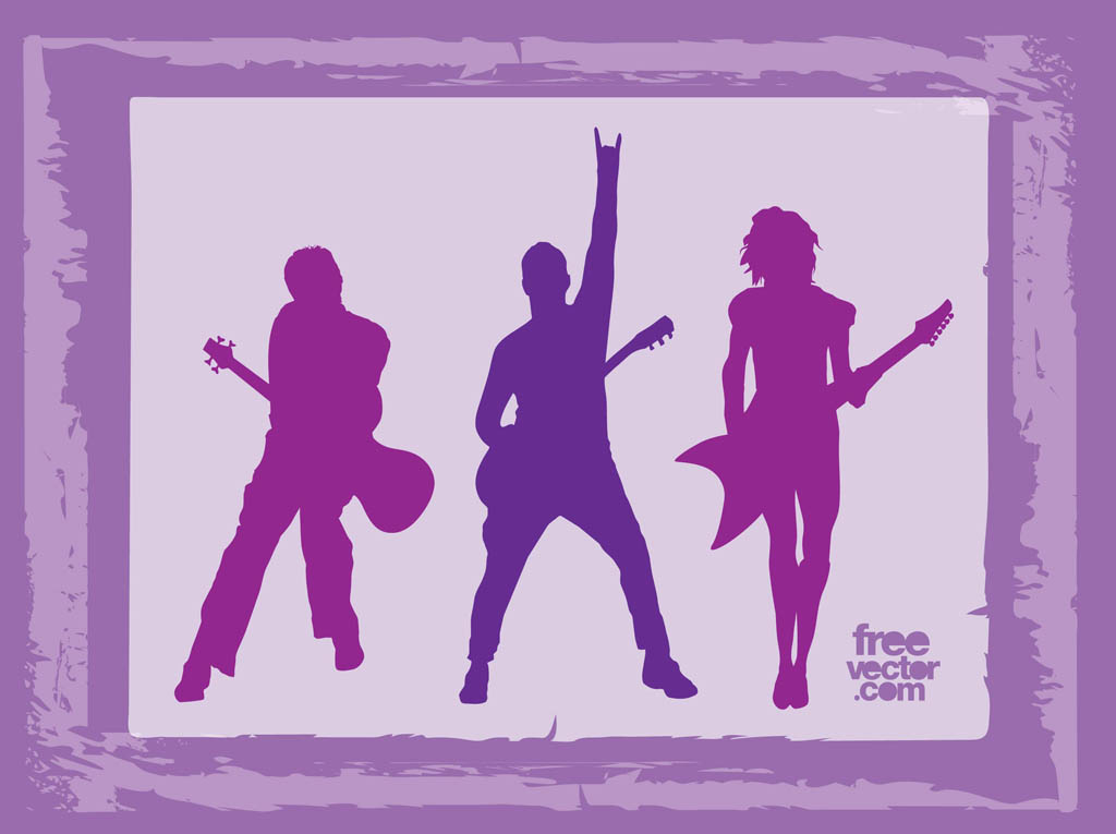 rock band silhouettes musical vector footage of rock band members ... Rock Band Silhouette