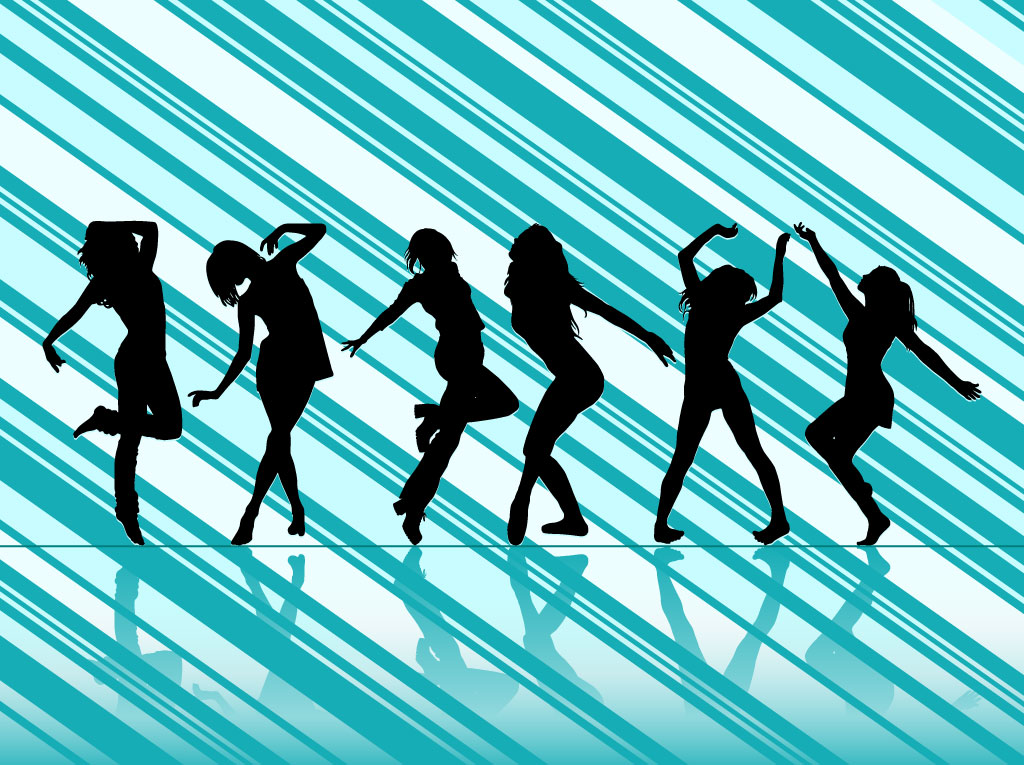 Dancing Women Vector Silhouettes