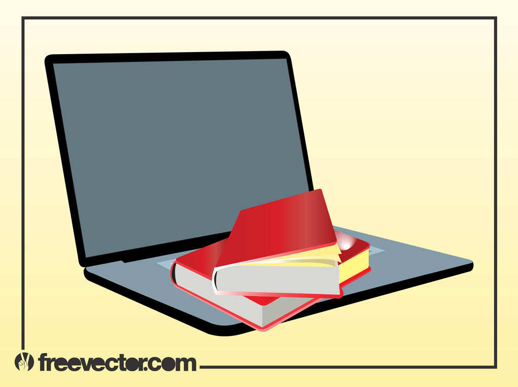 Books And Laptop Vector