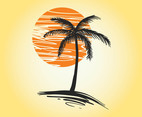 Sunset Palm Vector