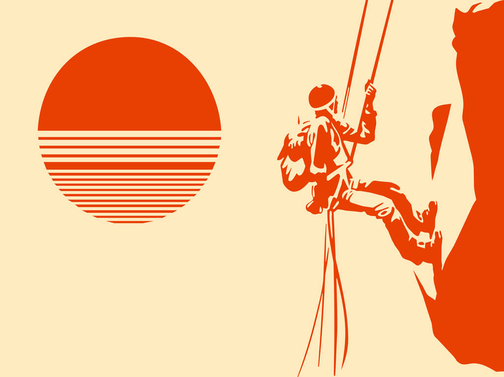 Mountain climber silhouette Drawing images free download