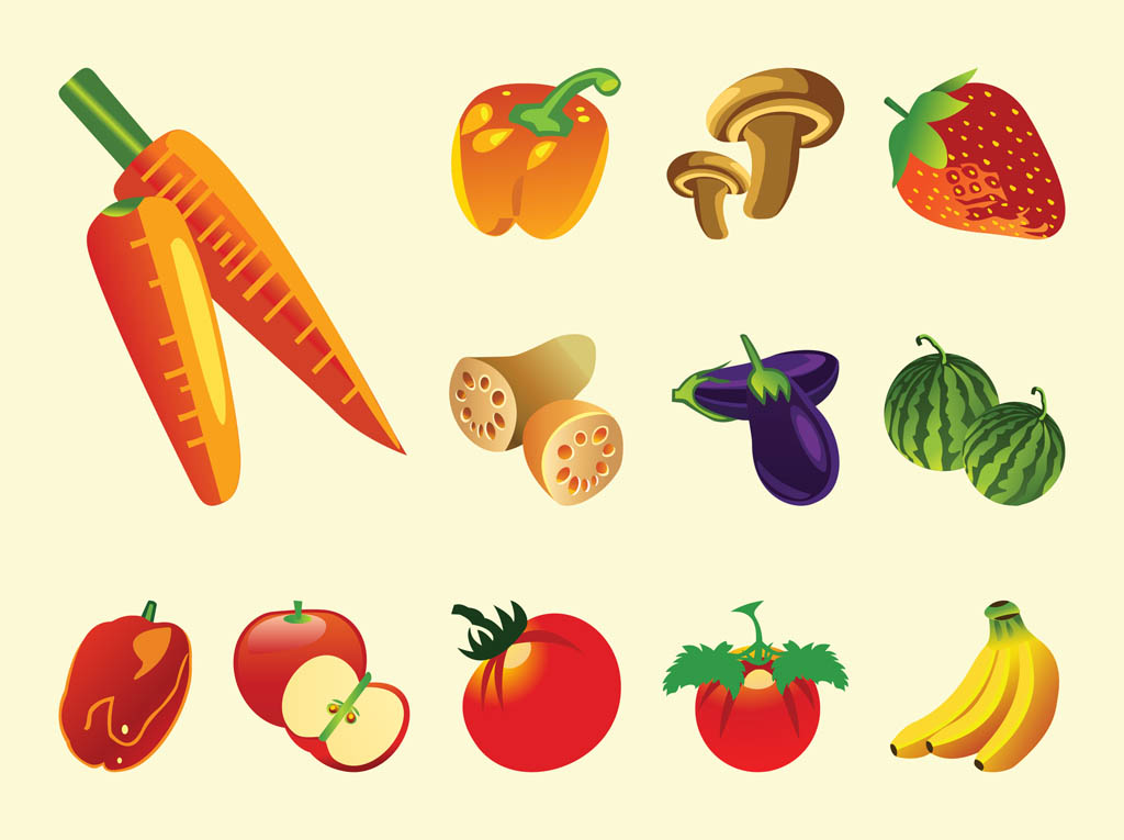 Fruits And Vegetables Vector Vector Art & Graphics ...