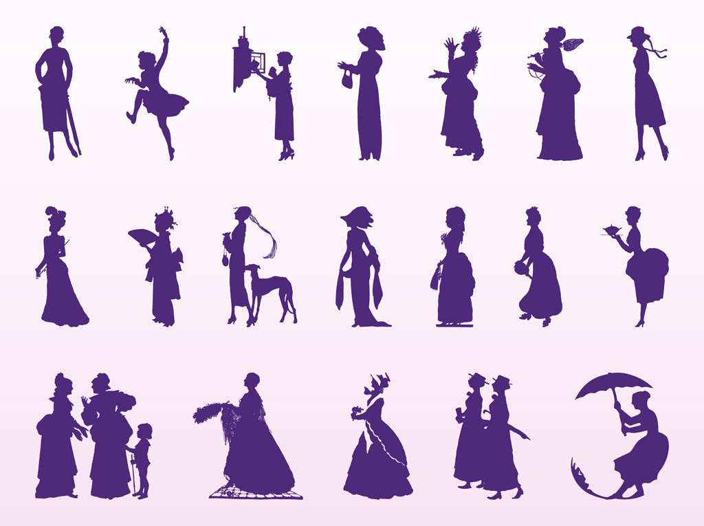 Vintage Women Silhouettes Vector Art Graphics Freevectorcom